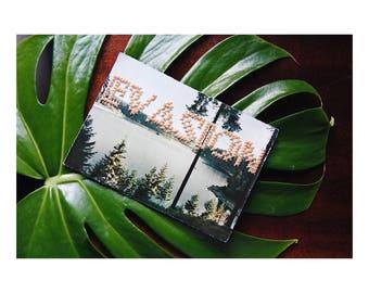 "Unique piece - map postcard vintage n.03 ""Escape"" hand - embroidered cross - stitch June B. Kitsch - JBK"