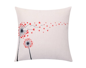 Valentines day throw pillow covers Lovely heart dandelion decorative pillow case Dandelion cushion cover Dandelion pillow Home decor 18x18
