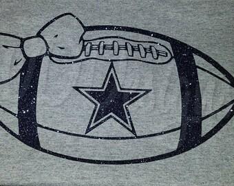 Glitter Dallas Cowboy Football w/ Bow