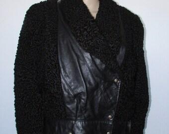 Vtg  jacquet de fourrure de mouton de perse/cuir noir/ Vtg beautiful black persian lamb with leather trim jacket  bomber sz small bust 46