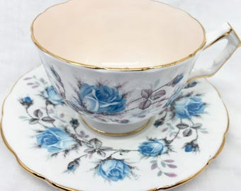 Aynsley Tea Cup and Saucer, Blue Roses, Pale Pink Interior, 1930s Bone China