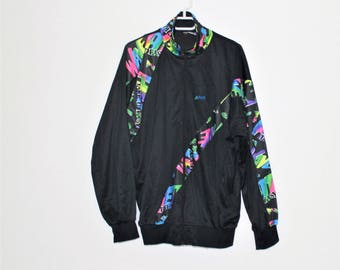 Vintage sports jacket, Black, multicolor windbreaker, windbreaker sports wear, workout jacket, women bomber jacket, size Large