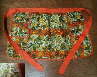 Vintage 60s VERA Neumann Mid Century Mod Groovy Flowers Birds Print Linen Apron
