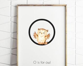 70% OFF SALE owl art print, owl printable decor, girls room decor, kids room decor, O is for owl printable, cute owl print, owl nursery art