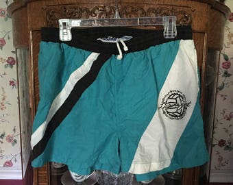 Laguna Sport Men's Swim Trunks Size Large 36-38 Blue with Black and White Logo Vintage Retro Hipster 1980s Shorts