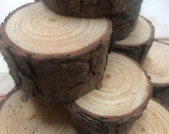"Pine Wood chunks Live Edge  ~ Count 55  ~1 3/4"" to 2 1/2"" x 1""  ~Natural Edge~ DIY Crafts ~Natural Edge Tree Slices ~Rustic Tree Rounds"