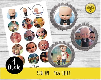 COD172-50% OFF SALE Boss Baby Digital Collage Sheet-1 inch Bottlecap-Printable Image Download for pendants magnets party bottle cap