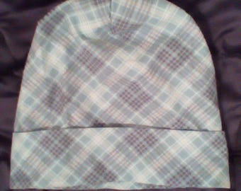 Teal Flannel Slouch Cap