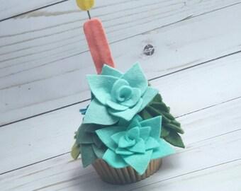 Felt succulent cupcake, succulent cupcake, succulent arrangement, potted succulents
