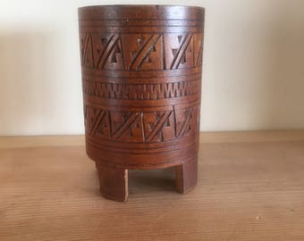 Unusual Vintage Small Wooden Asian Pot with Geometric Carving and Four Feet Brush Pot