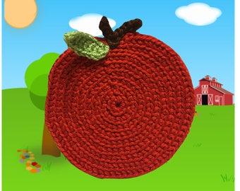 Apple Crochet Coaster