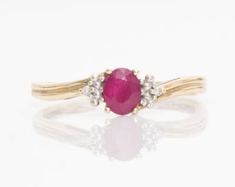 1980s Vintage Oval Ruby & Accent Diamond Ring, VJ#193A