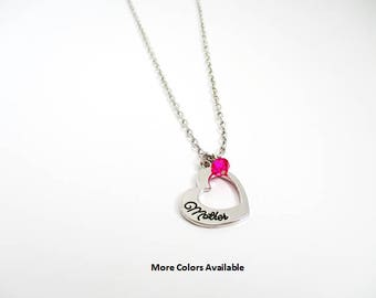 Mother Swarovski Crystal & Charm Necklace-Mother gift-Mother charm necklace-Mother jewelry-Mother-Mother Birthday gift, N1437