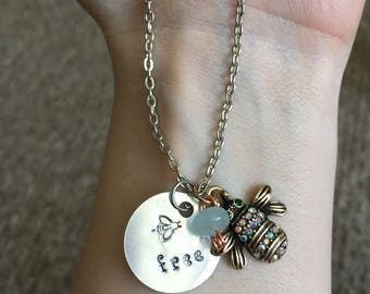 Bee free hand stamped necklace