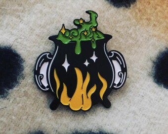 Bubbling Cauldron Witchy Enamel Pin
