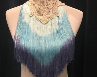 Goddess fringe and lace Choker - ombre