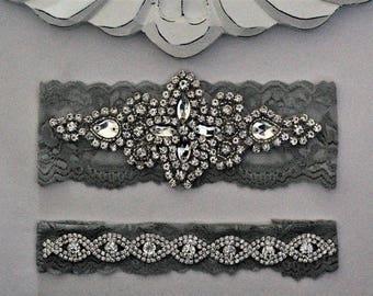 Gray and Crystal Bridal Garters, Wedding Garter Set NO SLIP grip, pearl and rhinestone garter set, Crystal Wedding Garter
