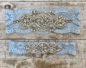 SALE - something blue Wedding Garter Set vintage rhinestones pearl lace rhinestone