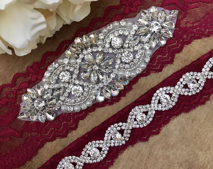 Burgundy Red Wedding Garter Set NO SLIP grip vintage rhinestones