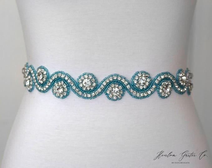 Blue Rhinestone Dress Sash - The Perfect Elegent Wedding Dress Belt