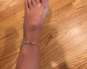 Infinity gold and turquoise anklet