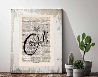 Print bike no. 1 antique book page - portrait