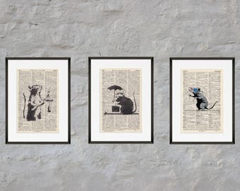 Prints - set of 3 - Banksy's rats - Antiquarian Book page