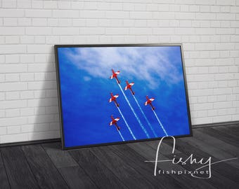 Climbing Flypast Aviation Digital Download. Professionally shot limited edition image, Aeroplane Print, Aviation Photography, Roulettes Team