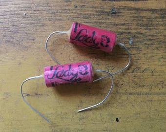 """Audio """"Pink Lady"""" Vintage-Wrapped Tone Capacitors."""