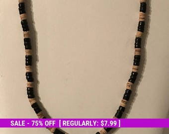 Vintage Wood Bead Necklace, Wood and Black Tone Beads, Boho, Estate Jewelry
