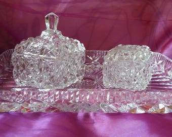 Vintage cut glass vanity set, not pressed glass