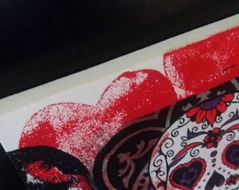 Sugar Skull Canvas, Gothic, acrylic, decoupage, art canvas