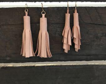 Tassel earrings, leather tassel earrings, blush earrings, pink earrings, drop earrings, statement earrings