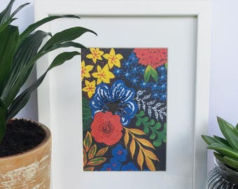 """Hand Painted Bright and Black Floral Small 7x5"""" Art Print"""
