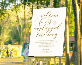 Gold Wedding Unplugged Sign, unplugged wedding ceremony, Unplugged Ceremony Sign, No Cell Phone Sign, UNPLUGGED WEDDING Sign, WPC_1080