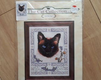 The Cat Collection Old Blue Eyes Counted Cross Stitch Kit, Siamese Cat Cross Stitch Kit,