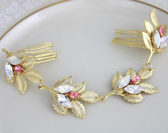 Wedding headpiece, Bridal hair vine, Gold headpiece, Wedding hair accessories, Leaf hair vine, Bridal hair comb, Swarovski Crystal headpiece