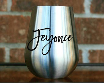 Bride to Be Stemless Wine Glass - Fiance Gift for Her - Engagement Wine Glass for Her - Bride to Be Gift for Newly Engaged - Stainless Steel