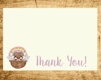 Noah's Ark Thank You, PRINTABLE, Digital File, Watercolor Noah's Ark