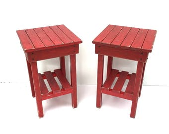 Distressed Night Stand Set /Distressed Red End Table Set /Two Bed Side  Tables/