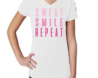 Smile Sweat Repeat Workout Deep V Tshirt