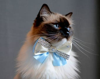 Luxury cat bow tie  'Christmas Night' - bow tie cat collars with large heart silver bell- two colour cat bow tie - slide on bowtie