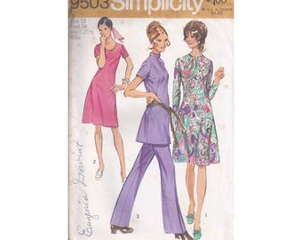1970's Simplicity 9503 Misses Dress or Tunic and Pants Size 12