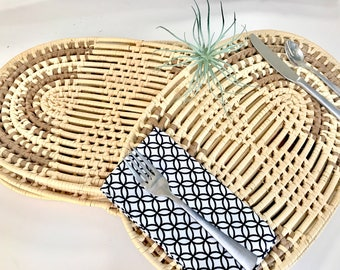 Coiled woven placemat set/placemats/table linens/table decor/woven placemats/place settings/farmhouse decor/boho decor/home decor/home