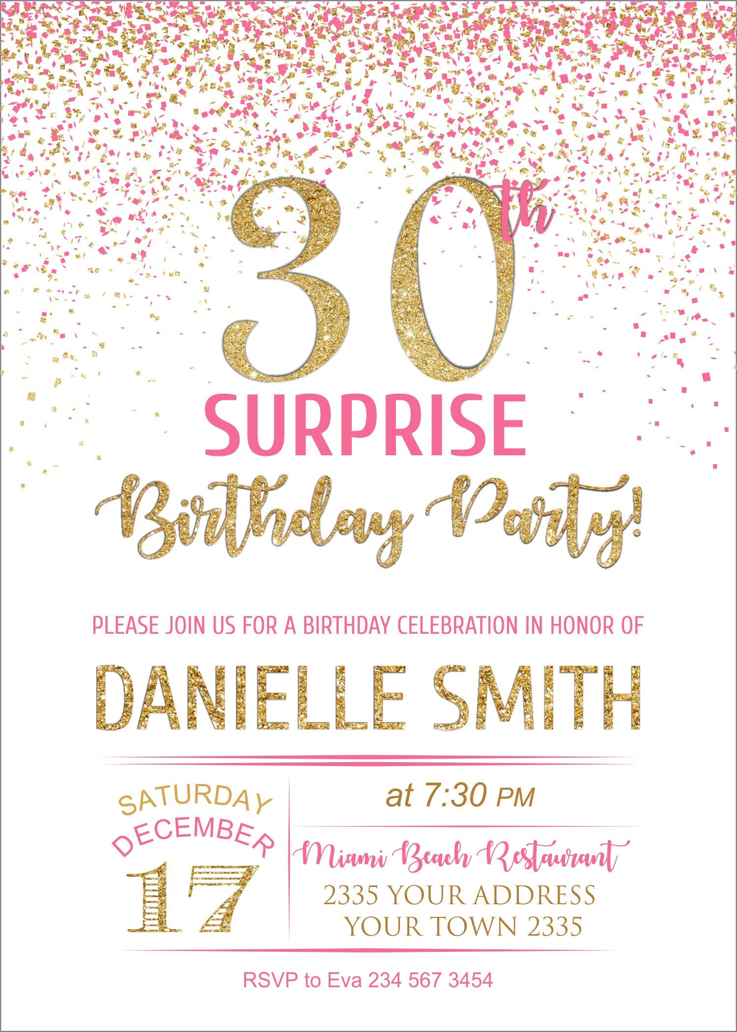 Surprise 30th Birthday Party invitation. 30th Birthday Invitation ...
