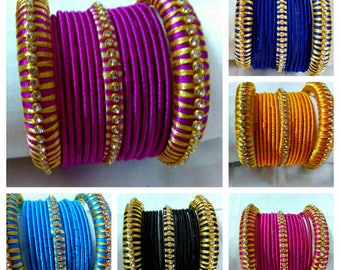 Silk Thread Bangles - Handmade Jewellery - Baby Shower Return Gift - Wedding Favor Gift Ideas  - Available in 2.6, 2.8 and 2.10 sizes.