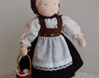 10-1/2 Inch Waldorf Doll in Norwegian, Swedish Inspired Outfit with Knitting Basket, Ethnic Waldorf Doll, Scandinavian Waldorf Doll