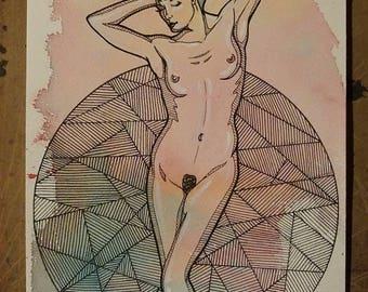 Art, watercolor, ink, drawing