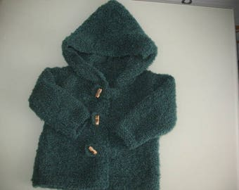 Green coat with hood knitted kids handmade size 2 years