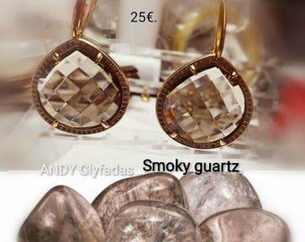 Smoky Quartz Earrings,Semi-Precious Stones,Smoky Quartz,Zircon,Brass,Elegant Earrings,ZirconBrass Drop Earrings,Smoky Quartz Dangle Earrings